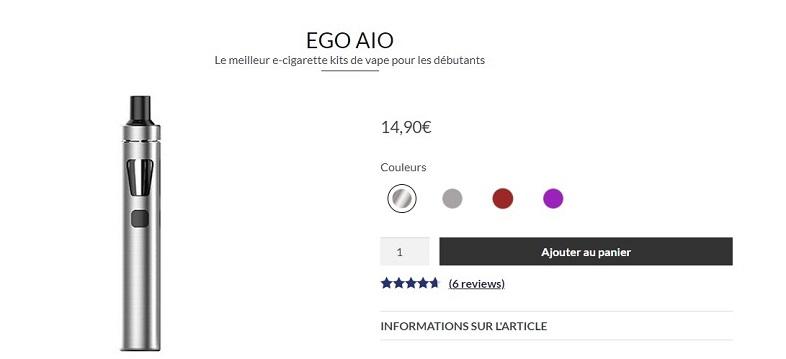 Le kit cigarette électronique économique Ego Aio